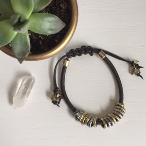 Lucky Brand Brown Leather Silver and Gold Bracelet